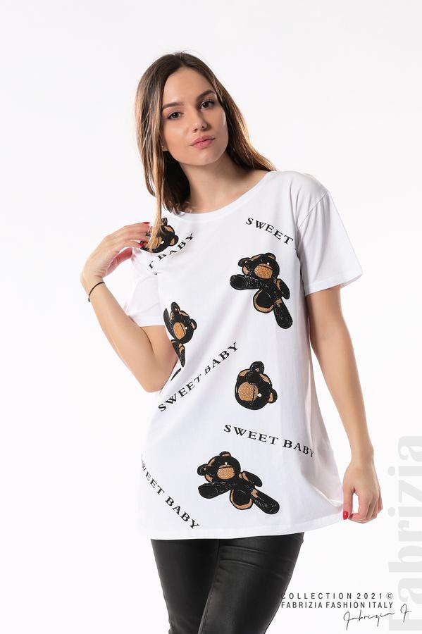 Блуза с мечета Sweet baby бял/черен 1 fabrizia