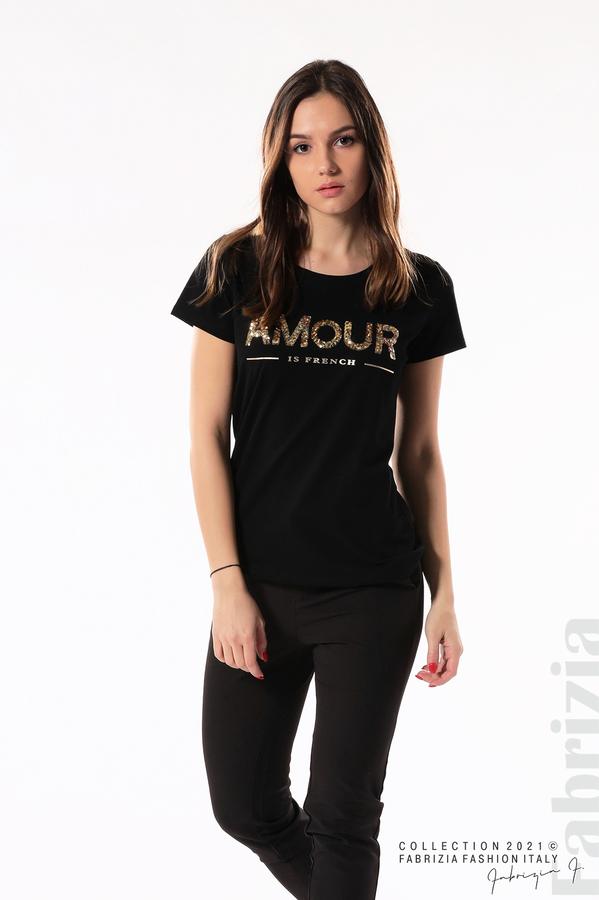 Блуза с надпис Amour черен 1 fabrizia