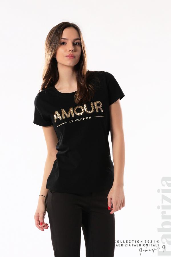 Блуза с надпис Amour черен 4 fabrizia