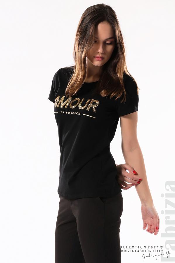 Блуза с надпис Amour черен 2 fabrizia