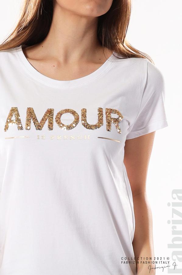 Блуза с надпис Amour бял 2 fabrizia