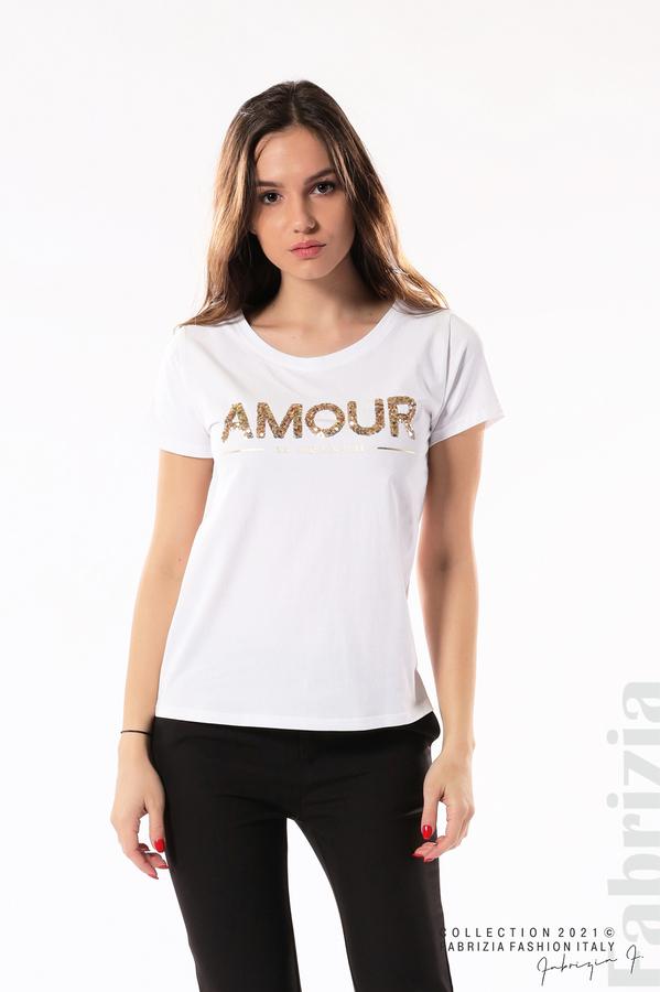 Блуза с надпис Amour бял 1 fabrizia