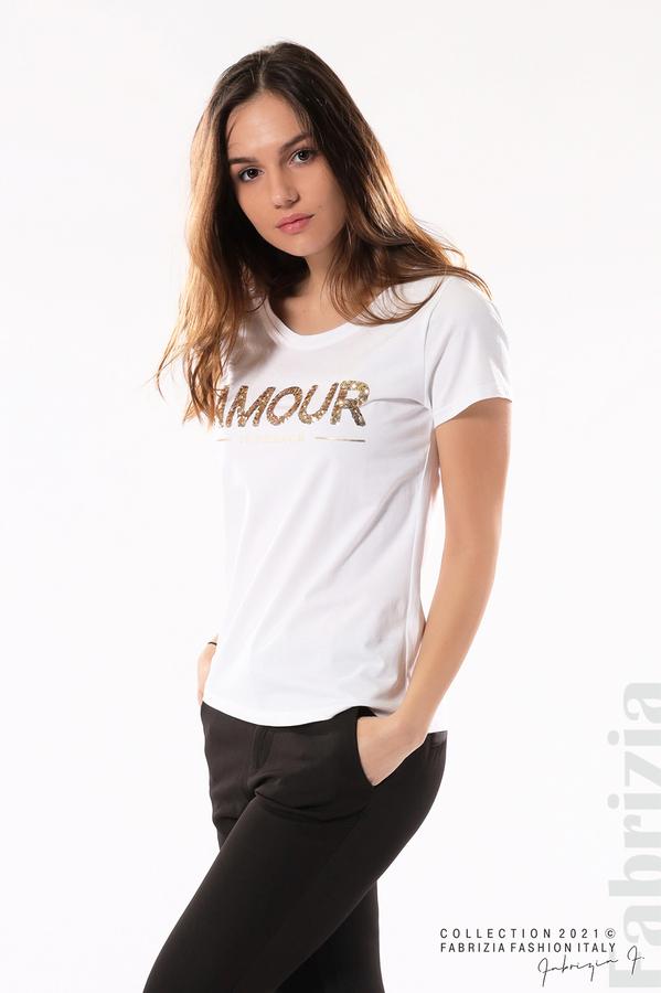 Блуза с надпис Amour бял 4 fabrizia