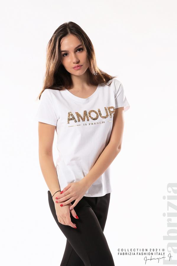 Блуза с надпис Amour бял 3 fabrizia