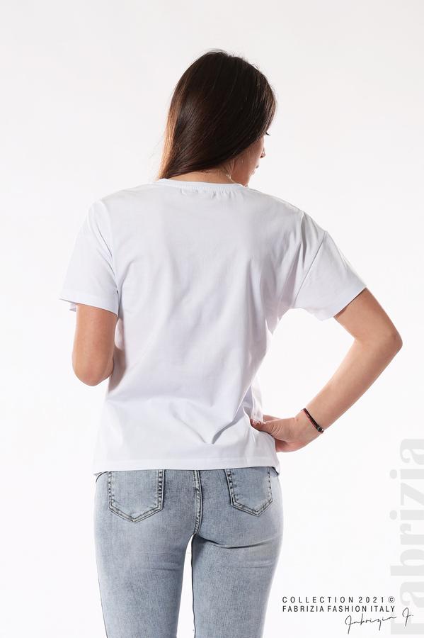 Трикотажна блуза с тюл бял 5 fabrizia
