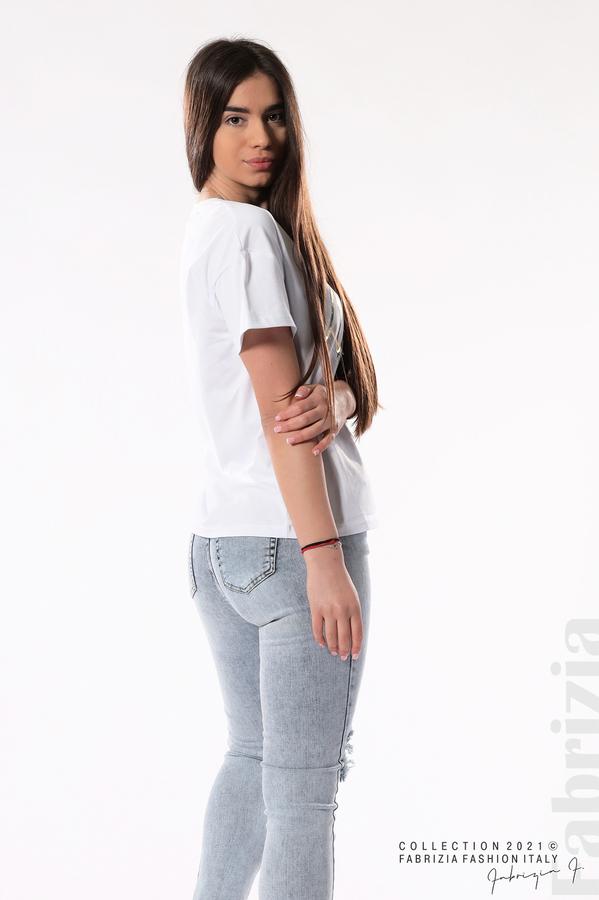 Трикотажна блуза с тюл бял 3 fabrizia