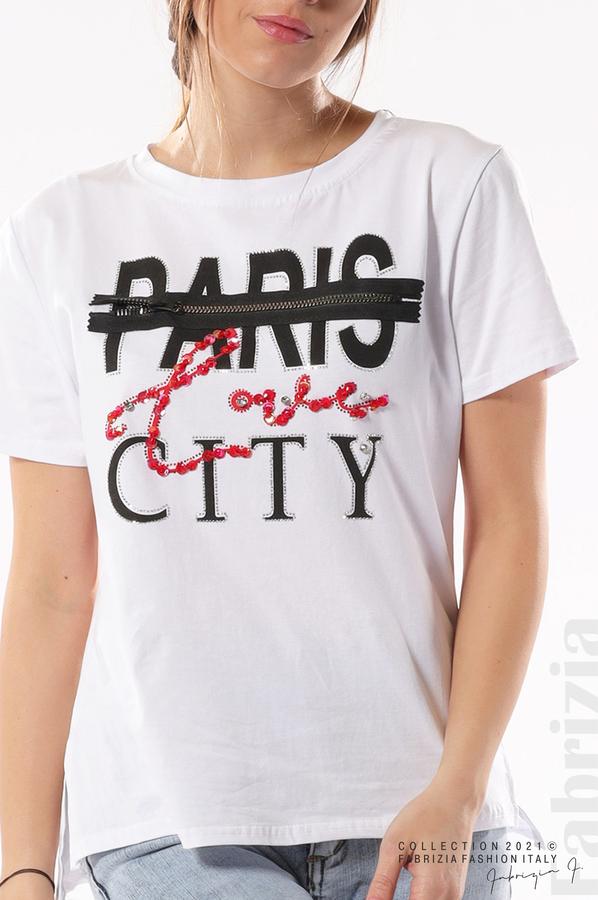 Блуза Paris с декоративен цип бял 2 fabriziaБлуза Paris с декоративен цип бял 2 fabrizia
