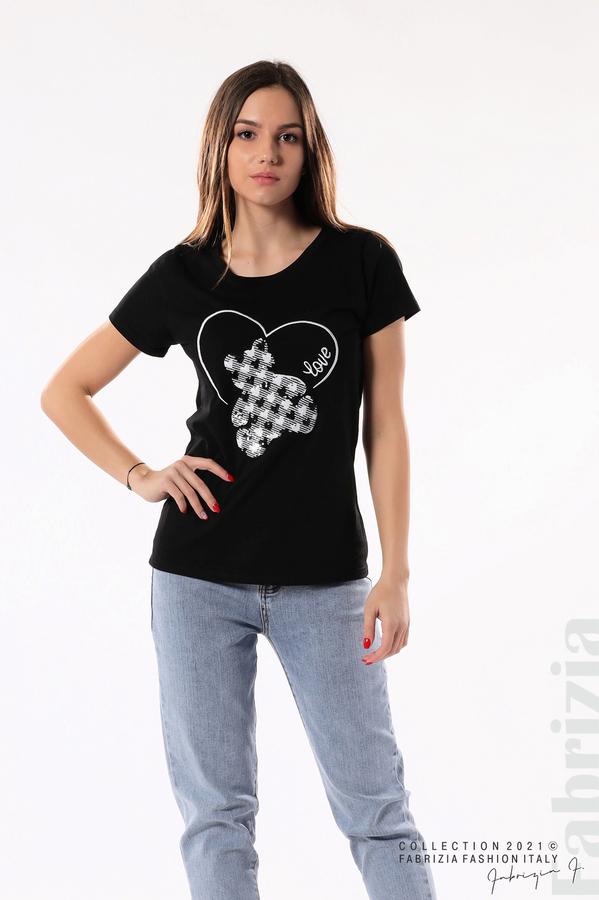 Блуза с мече от пайети черен 3 fabrizia