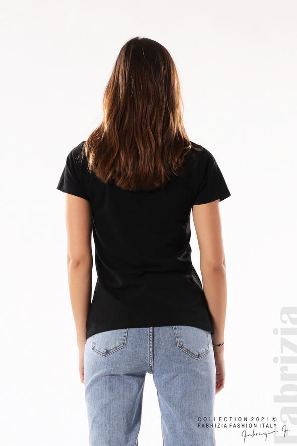 Блуза с мече от пайети черен 4 fabrizia