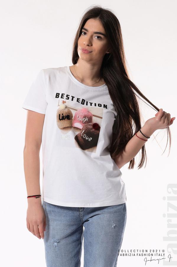 Блуза Best Edition с шапки бял 2 fabrizia