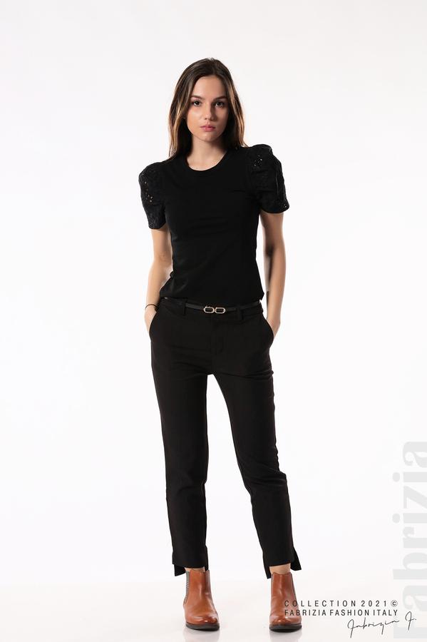 Памучна блуза с ръкав камбанка черен 3 fabrizia