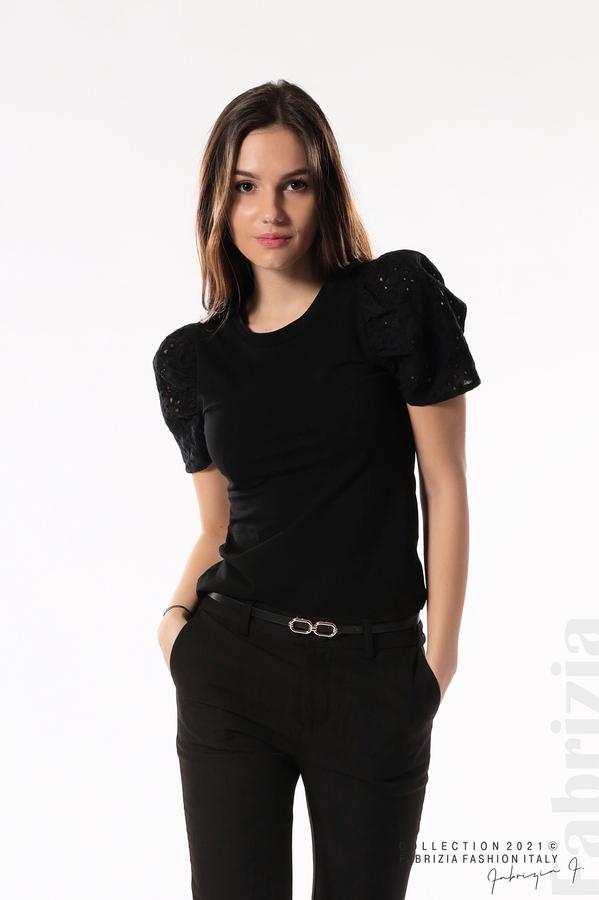 Памучна блуза с ръкав камбанка черен 4 fabrizia