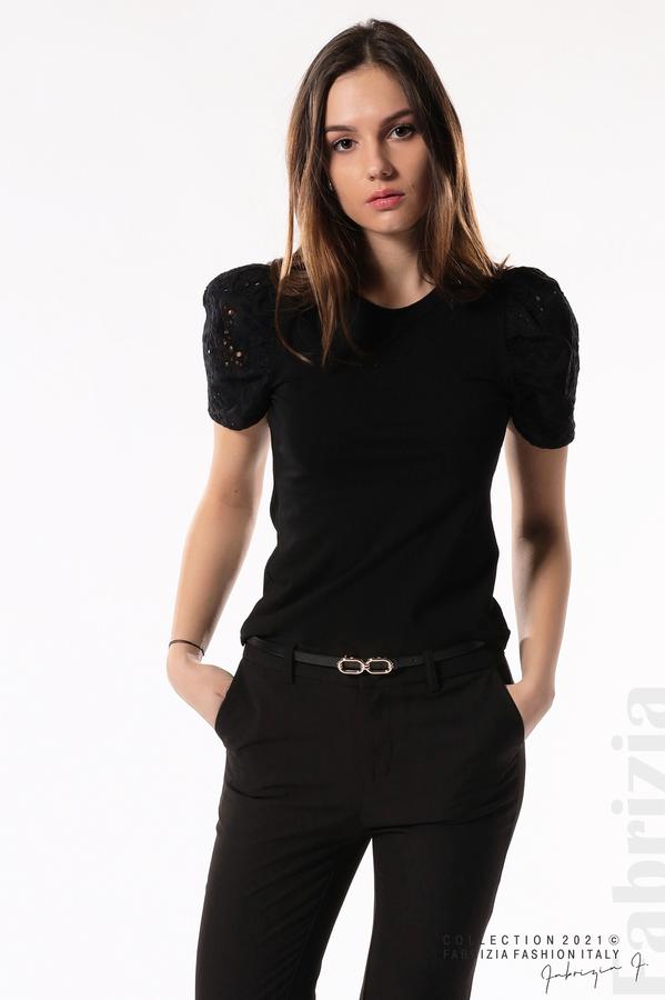 Памучна блуза с ръкав камбанка черен 5 fabrizia