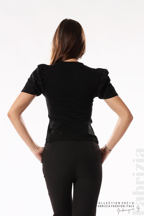 Памучна блуза с ръкав камбанка черен 6 fabrizia