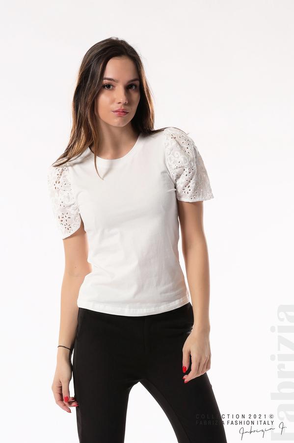 Памучна блуза с ръкав камбанка бял 1 fabrizia