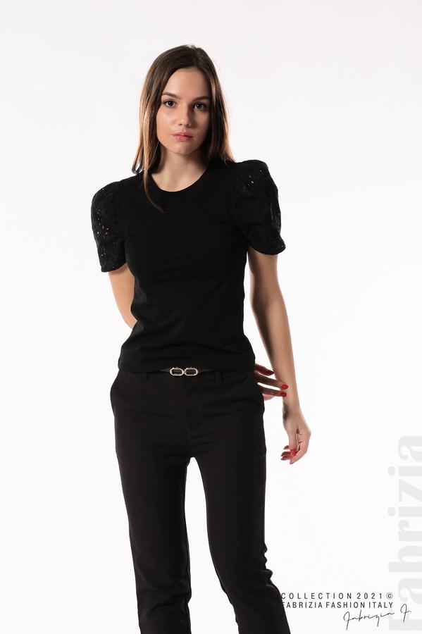 Памучна блуза с ръкав камбанка черен 1 fabrizia