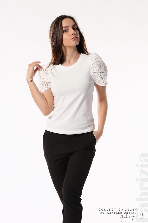 Памучна блуза с ръкав камбанка бял 5 fabrizia