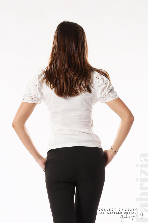 Памучна блуза с ръкав камбанка бял 6 fabrizia