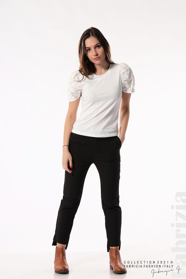 Памучна блуза с ръкав камбанка бял 4 fabrizia