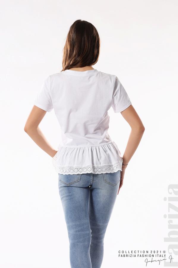 Блуза с волан и надпис Positive бял 5 fabrizia