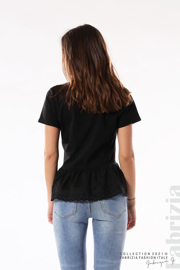 Блуза с волан и надпис Positive черен 5 fabrizia