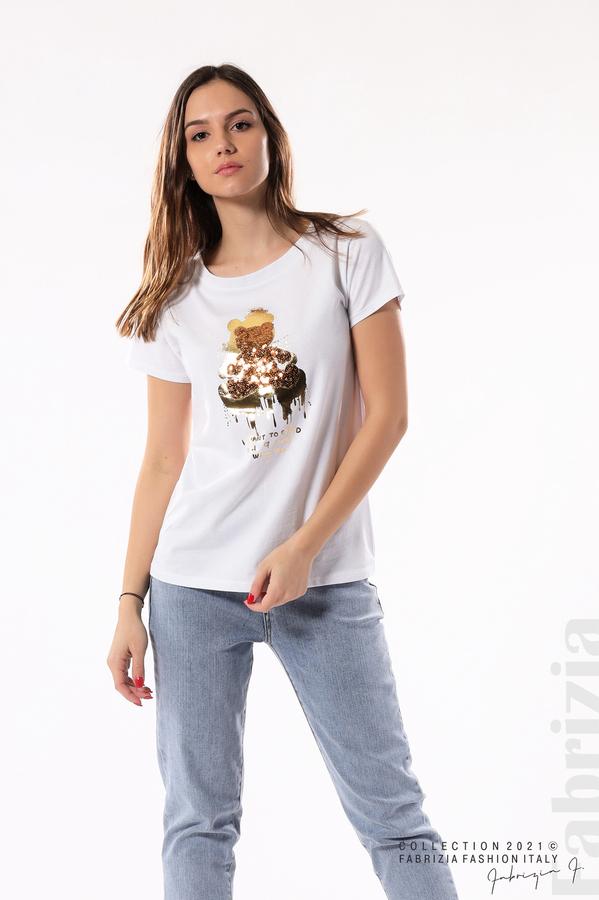 Блуза с мече от пайети и надпис бял/меден 1 fabrizia