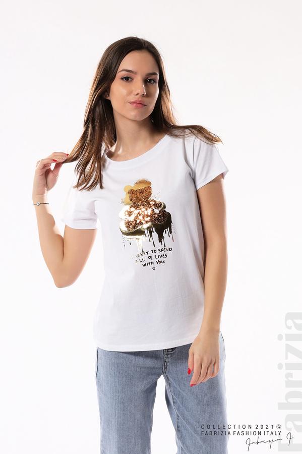 Блуза с мече от пайети и надпис бял/меден 3 fabrizia