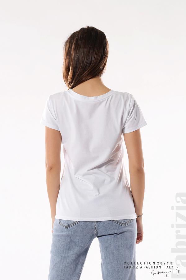 Блуза с мече от пайети и надпис бял/черен 5 fabrizia