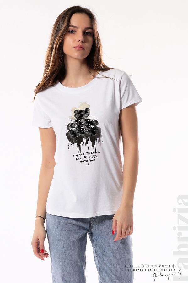 Блуза с мече от пайети и надпис бял/черен 2 fabrizia