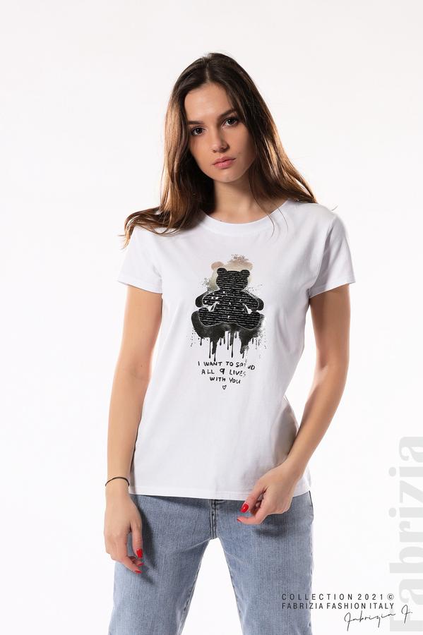 Блуза с мече от пайети и надпис бял/меден 2 fabrizia