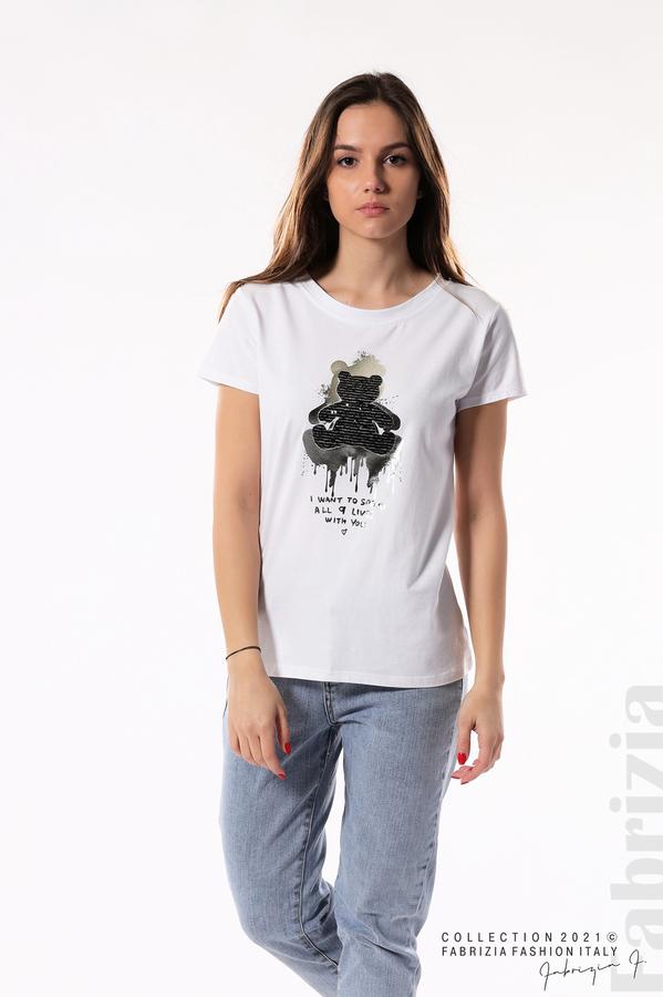 Блуза с мече от пайети и надпис бял/черен 3 fabrizia