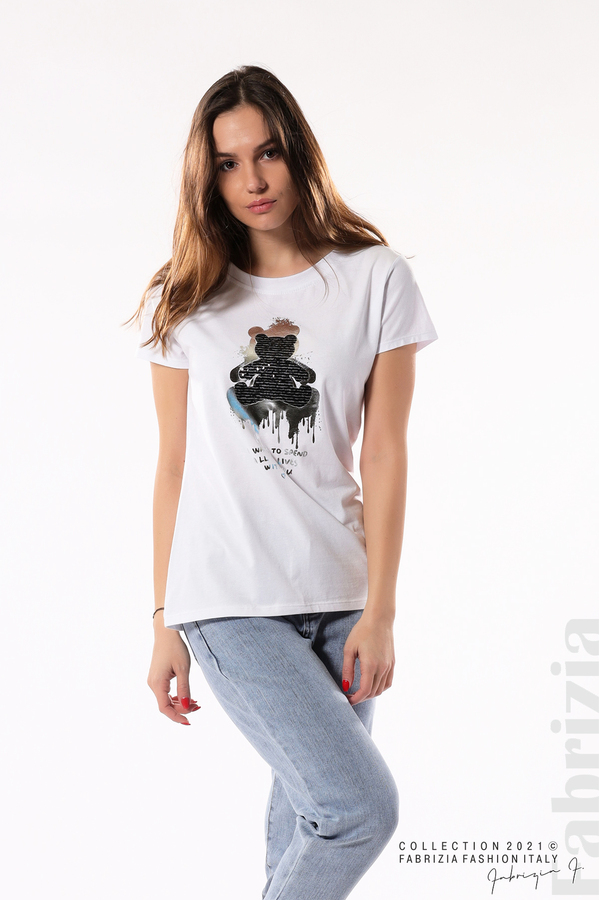 Блуза с мече от пайети и надпис бял/черен 4 fabrizia