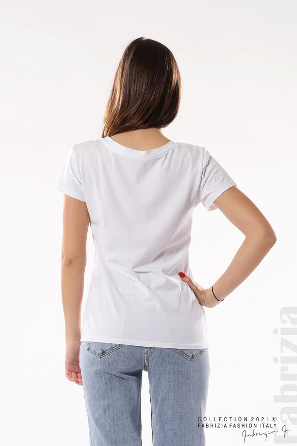 Блуза с мече от пайети и надпис бял/син 5 fabrizia