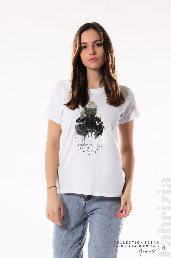 Блуза с мече от пайети и надпис бял/син 1 fabrizia