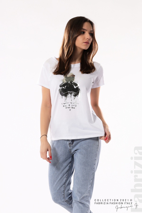 Блуза с мече от пайети и надпис бял/син 4 fabrizia