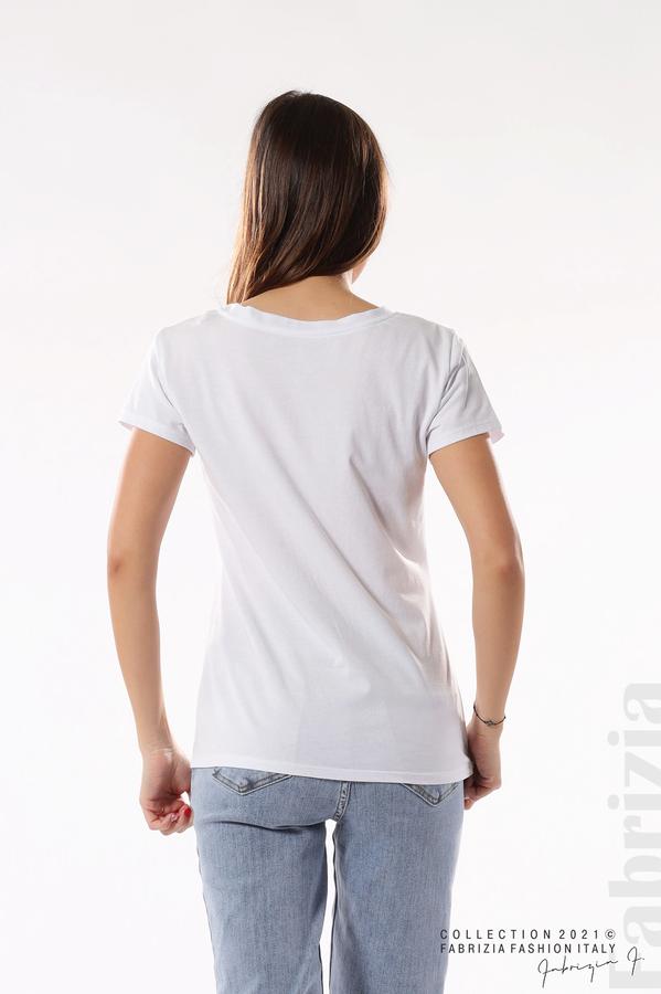 Блуза с мече от пайети и надпис бял/сребрист 6 fabrizia