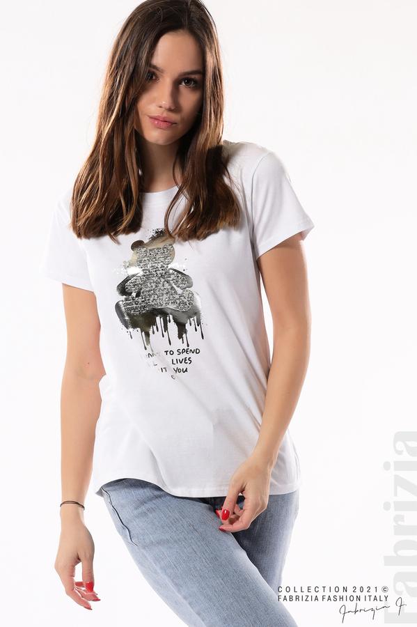 Блуза с мече от пайети и надпис бял/сребрист 3 fabrizia