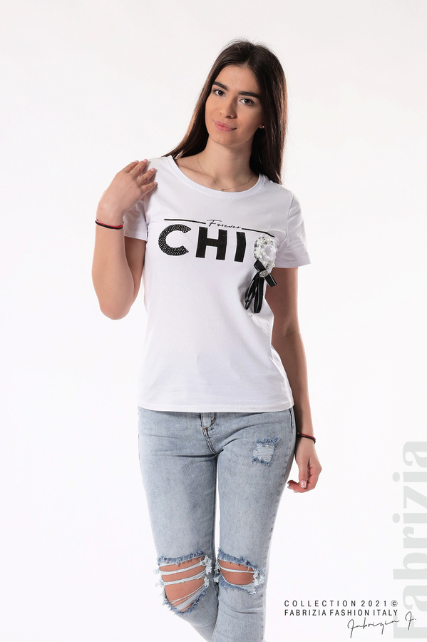 Блуза с надпис Chic бял 1 fabrizia