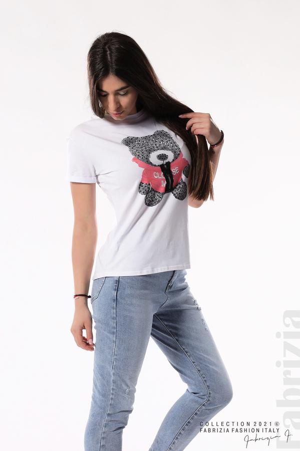 Блуза с мече и декоративен цип бял/червен 5 fabrizia