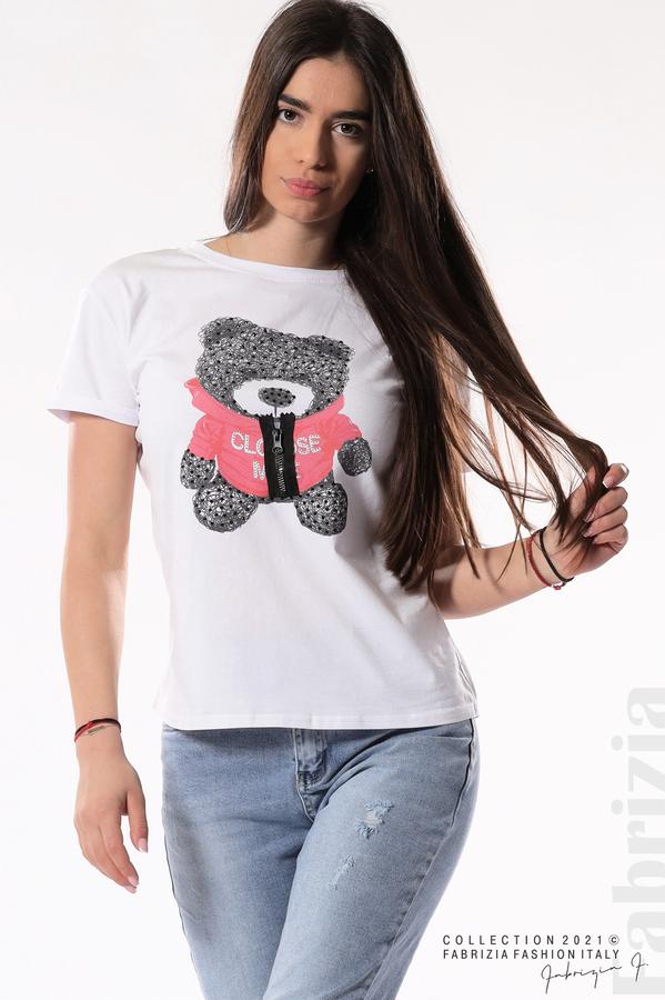 Блуза с мече и декоративен цип бял/червен 1 fabrizia