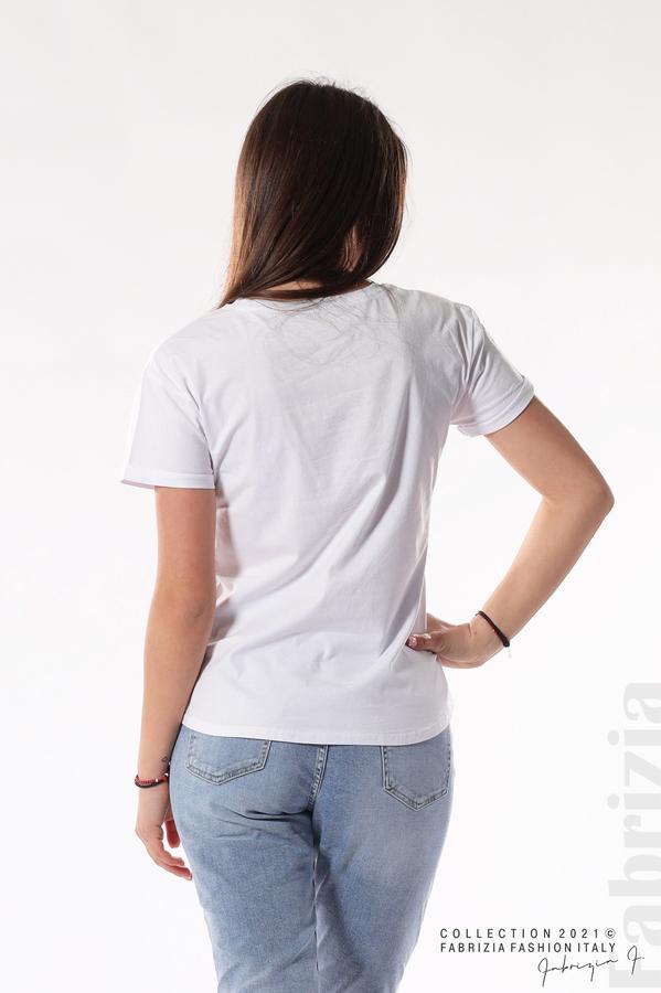 Блуза с мече и декоративен цип бял/син 5 fabrizia