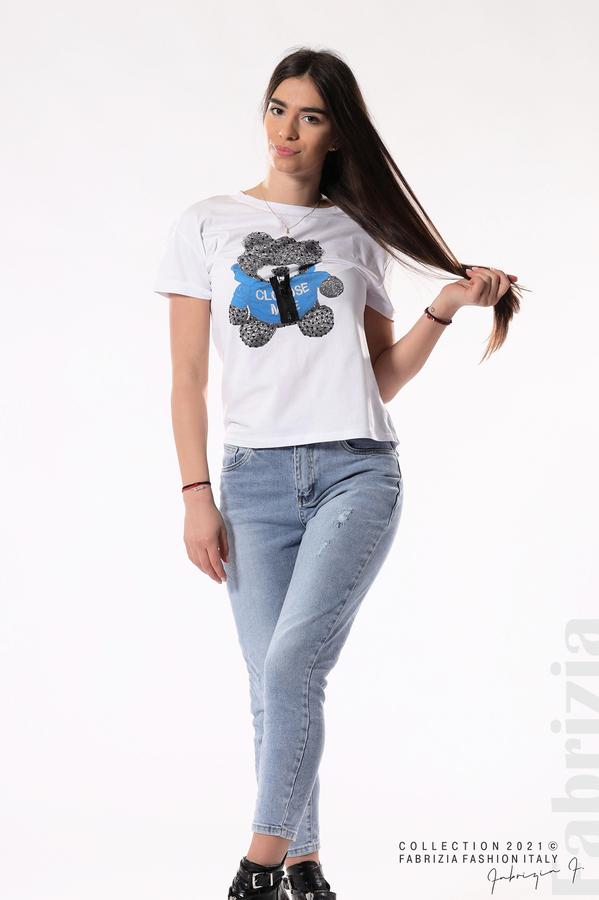 Блуза с мече и декоративен цип бял/син 4 fabrizia