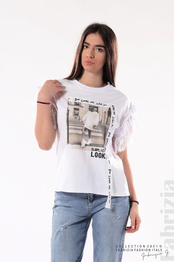 Блуза с щампа Love me like you do бял 1 fabrizia