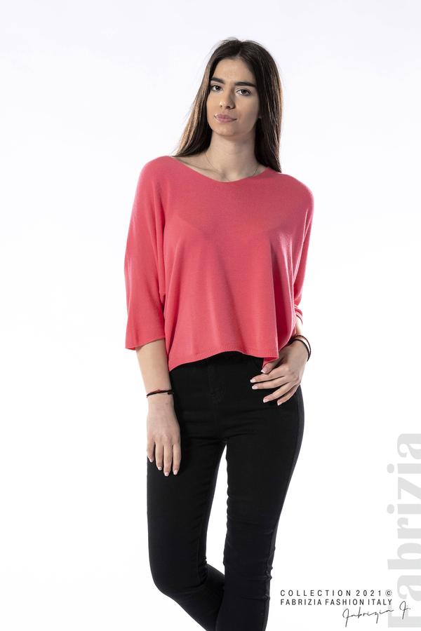 Едноцветна блуза фино плетиво фуксия 3 fabrizia
