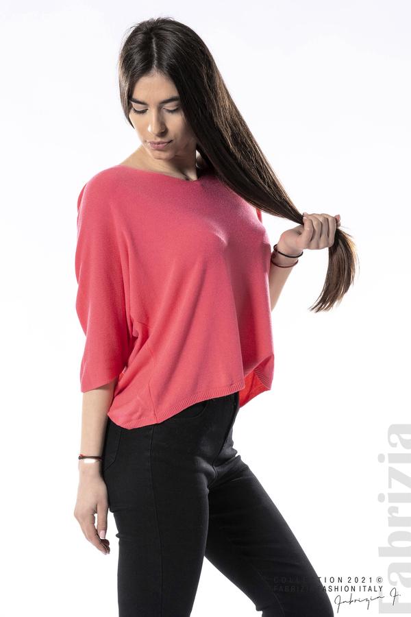 Едноцветна блуза фино плетиво фуксия 1 fabrizia