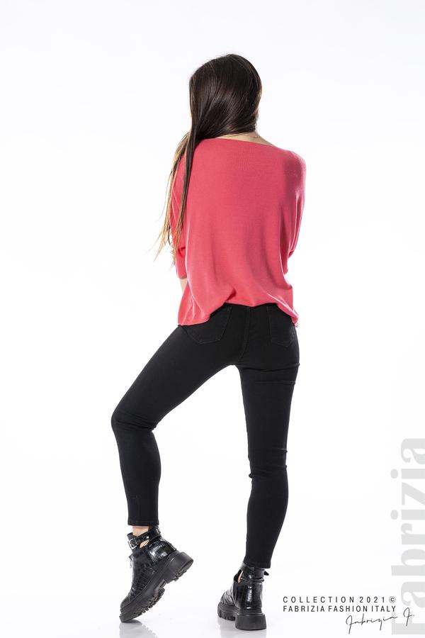 Едноцветна блуза фино плетиво фуксия 4 fabrizia