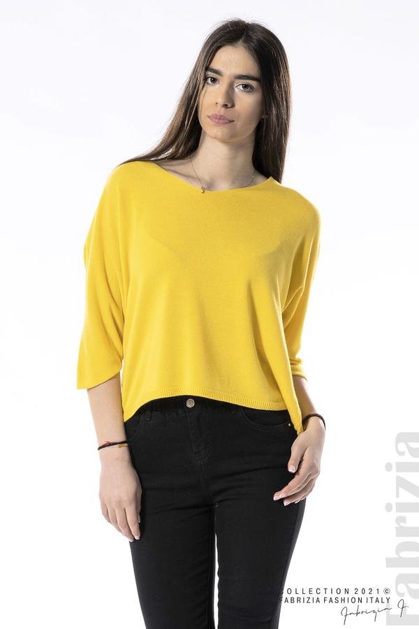 Едноцветна блуза фино плетиво жълт 2 fabrizia