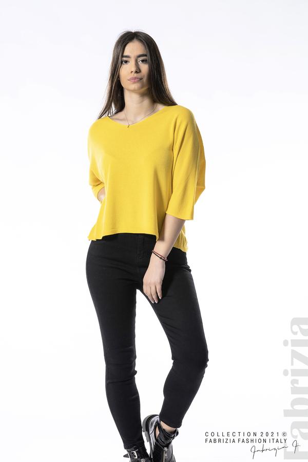 Едноцветна блуза фино плетиво жълт 3 fabrizia