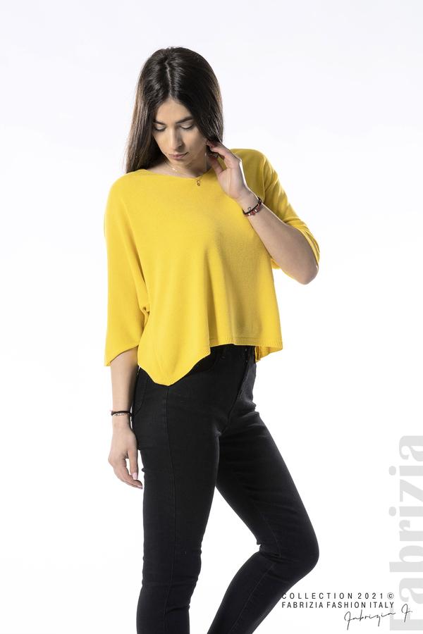 Едноцветна блуза фино плетиво жълт 1 fabrizia