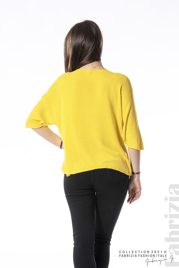 Едноцветна блуза фино плетиво жълт 4 fabrizia